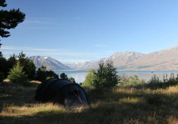 Camping spot at lake Ohau